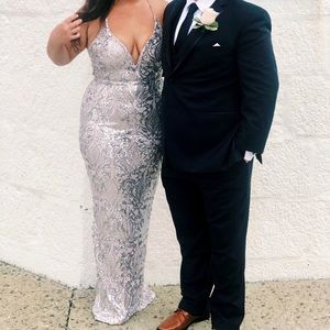 Silver/nude sequence gown